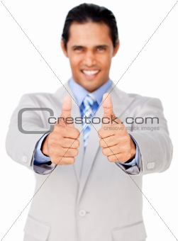 Portrait of an asian businessman with thumbs up