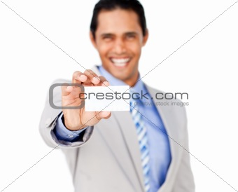 Asian businessman holding a white card