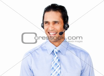 Asian businessman with headset on