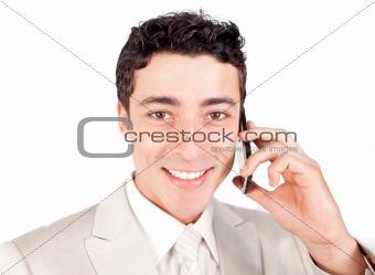 Attractive ethnic businessman talking on phone