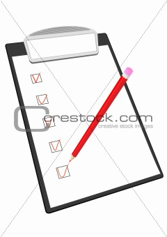 Clipboard and pencil