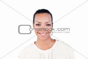 Beautiful businesswoman using headset
