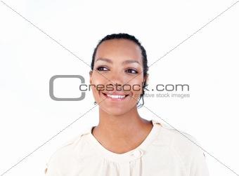 Positive businesswoman using headset