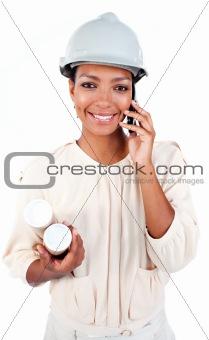 Charismatic female architect on phone