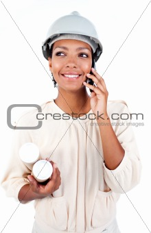 Afro-American female architect on phone