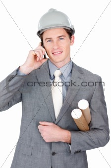 Attractive male architect talking on phone