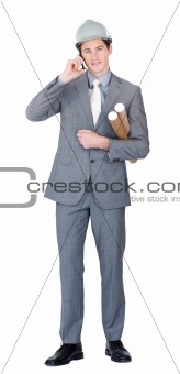 Assertive male architect talking on phone