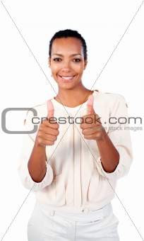 Positive businesswoman with thumbs up