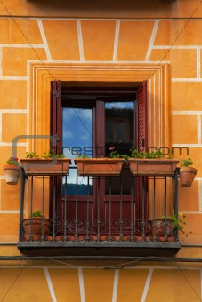 small balcony on the facade of building