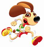 Funny dog is running.