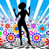 Silhouette of dancing girl. Vector illustration.