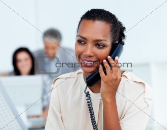 Beautiful businesswoman on phone