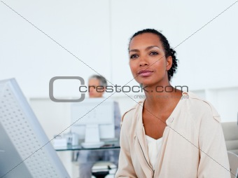 Beautiful businesswoman working at a computer