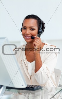 Charming businesswoman with headset on