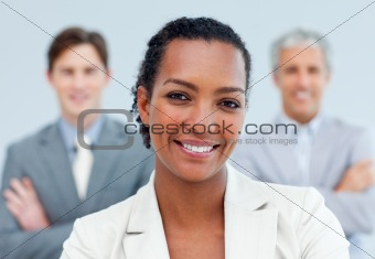 Charismatic afro-american businesswoman standing