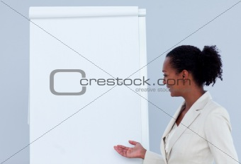 Afro-american businesswoman giving a presentation