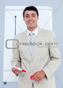 Charming businessman giving a presentation