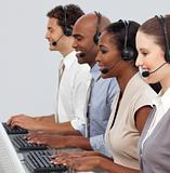 Customer business representatives at their computer