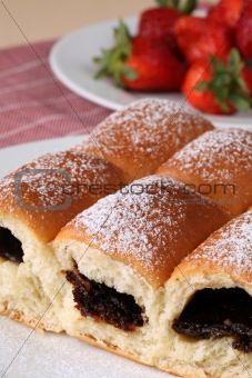 Czech buns and strawberries