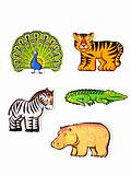 Figures of animals, puzzles,