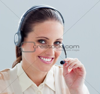 Close-up of a businesswoman with headset on