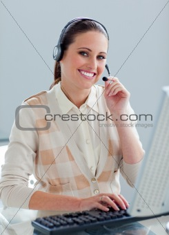 Positive customer service agent using headset