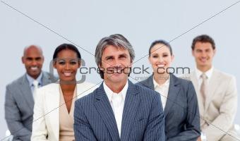 Portrait of an assertive business team
