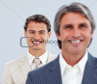 Portrait of two charming businessmen