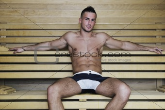 attractive young man in sauna