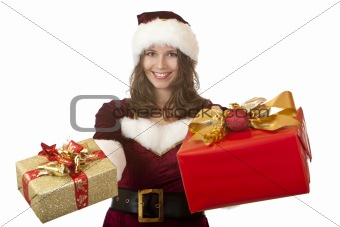 Santa Claus woman holding Christmas gifts in hands