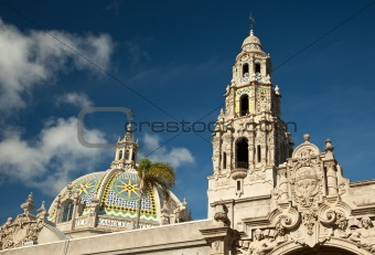 The Tower and Dome at Balboa Park, San Diego, California Against a Deep Blue Sky.