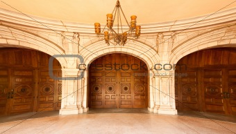 Three Majestic Classic Arched Doors with Chandelier - Fish-Eye Lens.