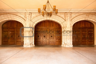 Three Majestic Classic Arched Doors with Chandelier.
