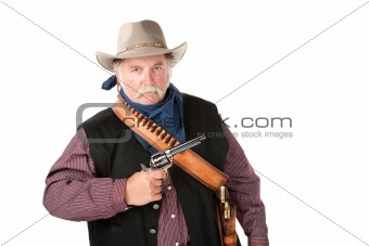 Obese cowboy on white background