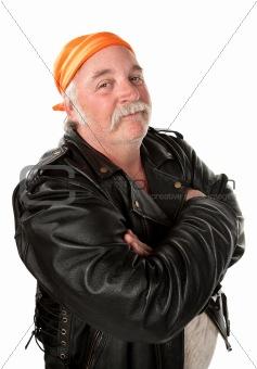 Obese gang member on white background