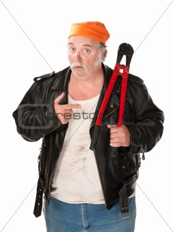 Fat theif with big red bolt cutter tool
