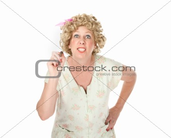 Housewife on white background