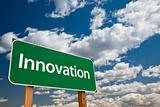 Innovation Green Road Sign with Copy Room Over The Dramatic Clouds and Sky.