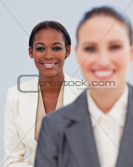 Portrait of two smiling businesswomen