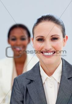 Portrait of two beautiful businesswomen