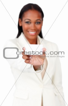 Afro-american businesswoman holding a white card sign