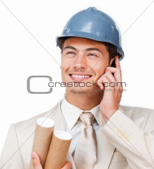 Assertive young architect on phone