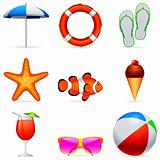 Summer vacation icons.
