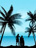 couple in a tropical landscape