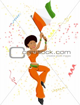 Black Girl Ivory Coast Soccer Fan with flag.