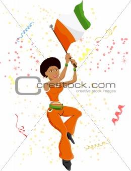 Black Girl Ivory Coast Soccer Fan with flag.