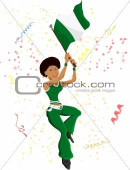 Black Girl Nigeria Soccer Fan with flag.