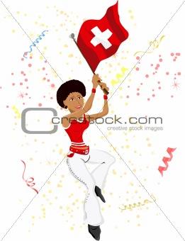 Black Girl Switzerland Soccer Fan with flag.
