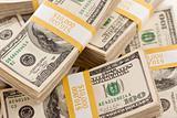 Stacks of Ten Thousand Dollar Piles of One Hundred Dollar Bills