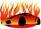 Sport car in fire